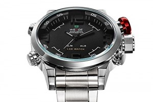 Weide Mens Black Dial Dual Time Display Stainless Steel Wrist Watch WH2309B (Silver)
